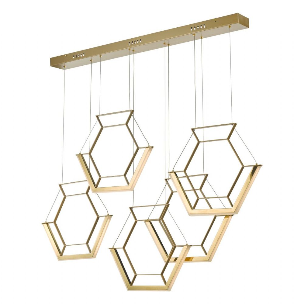 Hexagon 5lt Pendant Gold LED, Double Insulated BXHEX0535-17